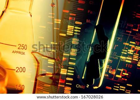 Pills in test tube over fingerprint test DNA background.  - stock photo