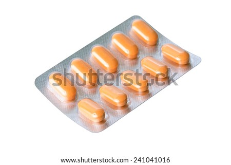 pills of medical isolated on white background - stock photo