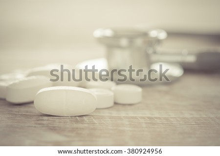 Pills on the table. Concept of Health, selected focus. - stock photo
