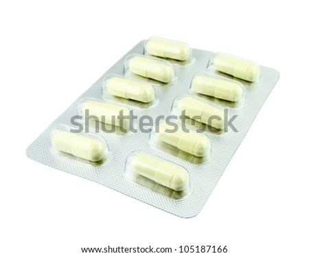 pills pack on white background - stock photo