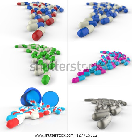 Pills spilling out of pill bottle on white background - stock photo