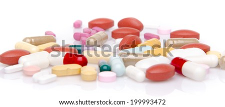 Pills, tablets and capsules, isolated on white
