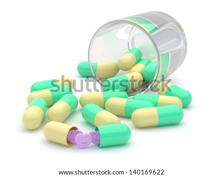 Pills with heart smile spilling out of glass.