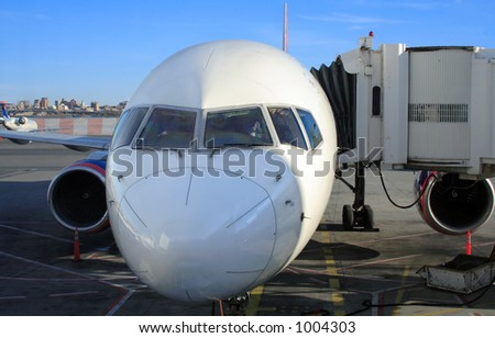 Pilot and co-pilot prepare for a flight at New York's Laguardia - stock photo