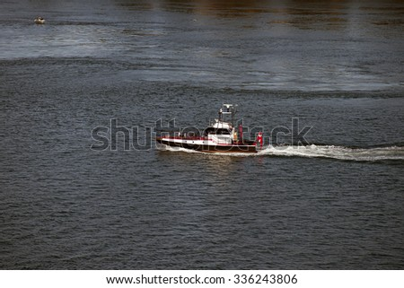 Pilot boat on Little Belt close to Fredericia and Middelfart in Denmark - stock photo