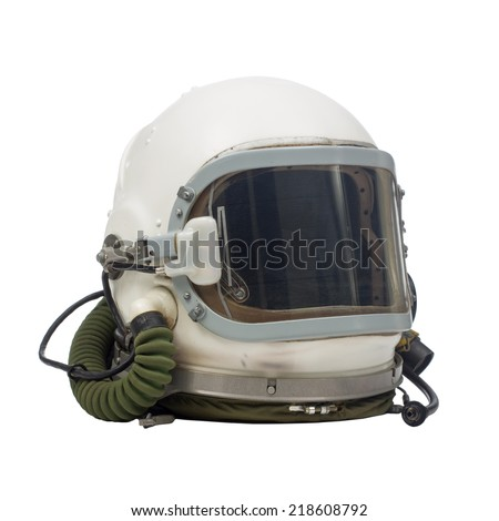 pilot military helmet - stock photo
