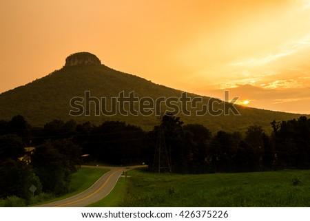 Pilot mountain sunset - stock photo