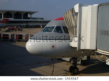 Pilot preparing the Airplane for taxi and take-off - stock photo
