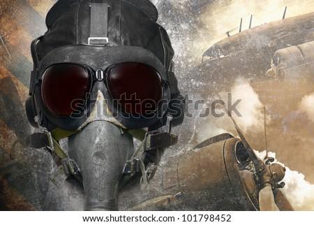 Pilot, retro aviation in grunge background - stock photo