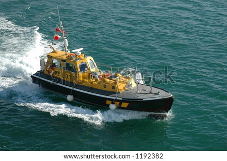 Pilot's boat off Poole, England - stock photo