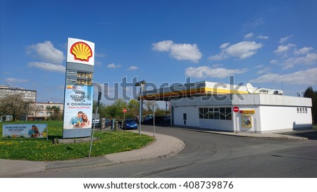 PILSEN, CZECH REPUBLIC - APRIL 20, 2016: Shell gas station with gas prices in suburban area. Royal Dutch Shell plc is an Anglo-Dutch multinational oil and gas company. - stock photo