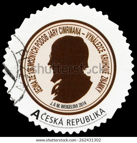 PILSEN, CZECH REPUBLIC - MARCH 21, 2015: A stamp printed in Czech republic shows portrait of Jara Cimrman. He was famous czech genius, inventor, sportsman, criminalist, poet, writer and philosopher. - stock photo