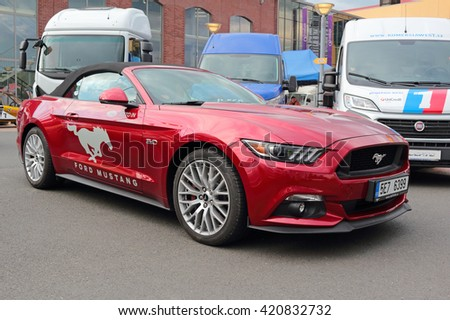 PILSEN, CZECH REPUBLIC - MAY 14, 2016: A new Ford Mustang sport car. Public car show near Olympia shopping centre. - stock photo