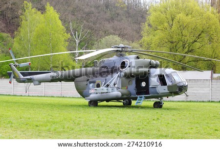 PILSEN CZECH REPUBLIC - MAY 1, 2015: The Mil Mi-17 Hip  It is a medium twin-turbine transport helicopter. 221. squadron Czech Air Force.