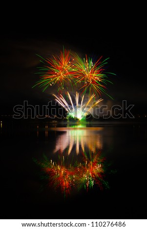 Pilsen fireworks above water - stock photo
