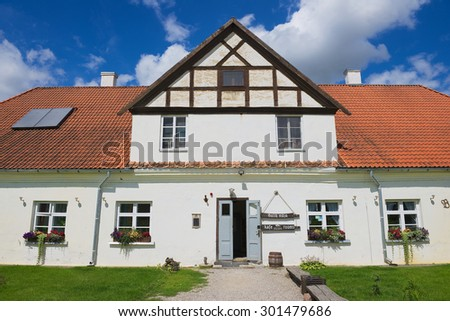 PILSRUNDALE, LATVIA - JULY 27, 2015: Exterior of the traditional building in Pilsrundale, Latvia.