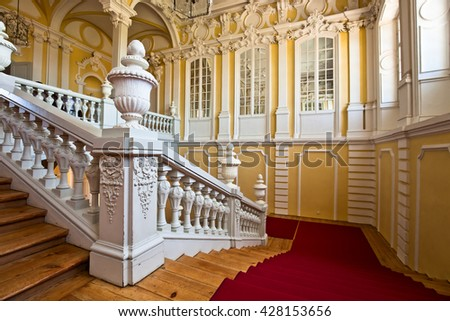 Pilsrundale, Latvia - May 28 , 2016.; Interior of Rundale palace. Rundale palace is one of the most outstanding monuments of Baroque and Rococo art in Latvia.