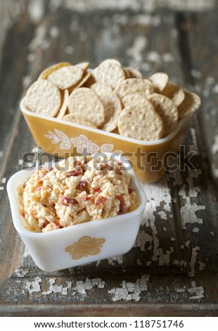Pimento Cheese with Crackers in Vintage Casserole Dishes - stock photo