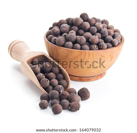 pimento peppercorns isolated on white background - stock photo