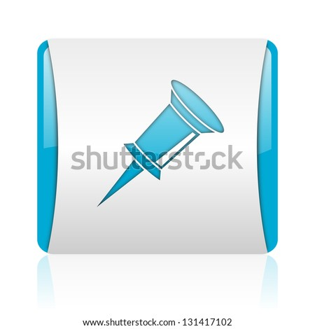 pin blue and white square web glossy icon - stock photo