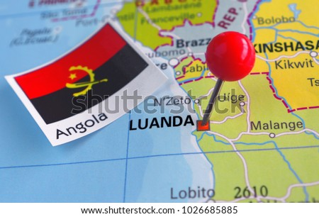 Pin Luanda On Map Angola Stock Photo Royalty Free 1026685885