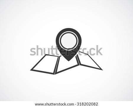 pin map marker black icon design - stock photo