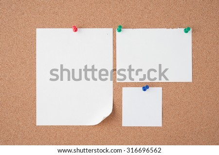 Pin Paper on cork board  for text and background - stock photo