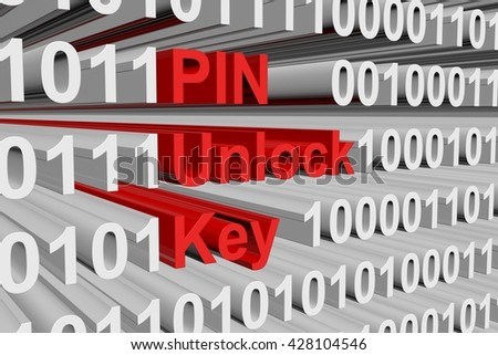 PIN unlock key is in the form of binary code, 3D illustration - stock photo