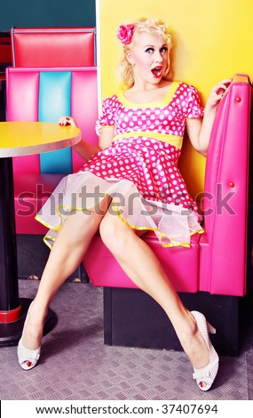 pin up girl at american diner similar available in my portfolio stock photo. Black Bedroom Furniture Sets. Home Design Ideas