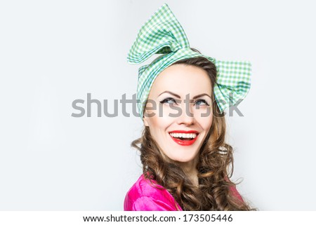 Pin-up girl happy smiling - stock photo