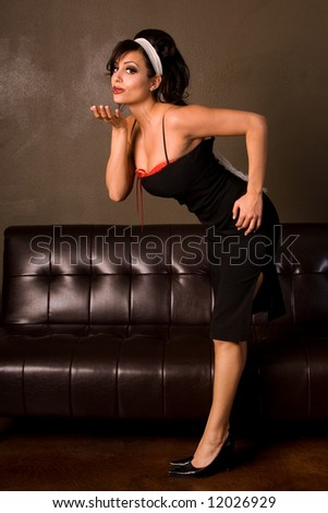 Pin-up girl kiss. - stock photo