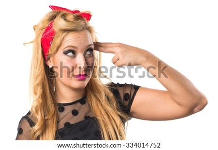 Pin-up girl making suicide gesture