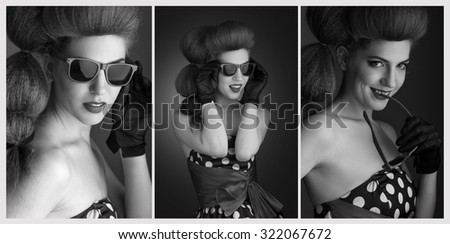 Pin-up style. Black and White Portraits of attractive smiling young woman in sunglasses. Retro image.  - stock photo
