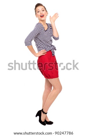 Pin-up style woman - stock photo