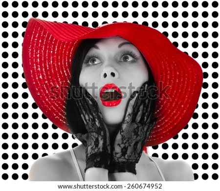 Pin-up woman with red hat and lips isolated on white - stock photo