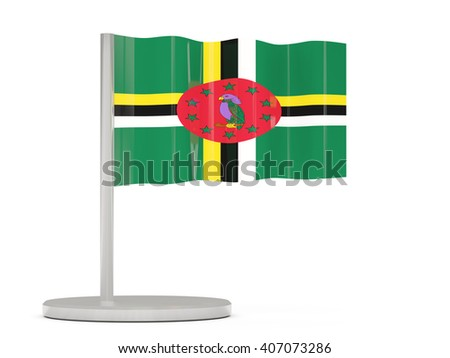 Pin with flag of dominica. 3D illustration