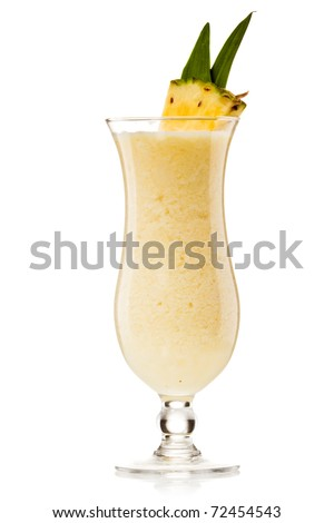 Pina colada drink cocktail glass isolated on white background - stock photo