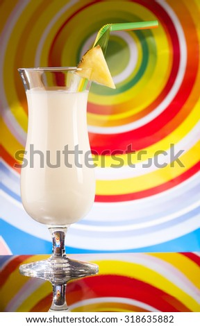 Pina colada drink in cocktail glass - stock photo