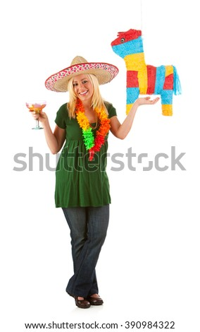 Pinata: Woman With Margarita Ready To Party - stock photo