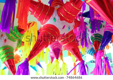 pinatas star shape mexican traditional party colorful celebration - stock photo