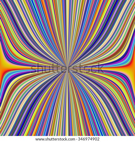 Pinched Waist in Colored Stripes / A digital abstract fractal image with a colorful pinched in the middle striped design in yellow, blue, green, orange and red. - stock photo