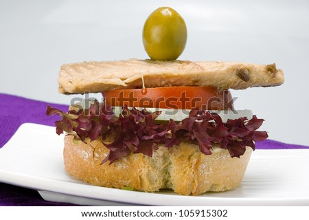PINCHO OF MACKEREL. are small portions of food, often on a cocktail stick, eaten in a bar or caf�©. Often free, they are similar to tapas, but much smaller. - stock photo