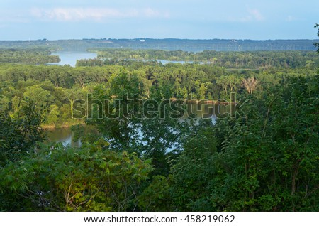 pine bend bluffs scientific and natural area overlooking mississippi river and spring lake in inver grove heights minnesota - stock photo