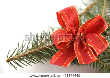 Pine branch with a red bow isolated on white