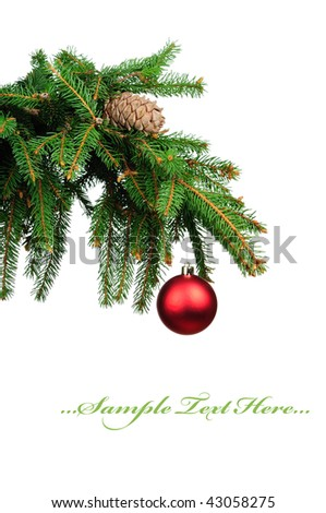 Pine branches and christmas ball isolated on white background - stock photo
