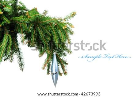 Pine branches and christmas toy isolated on white background