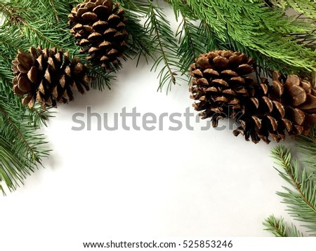 Pine cones and pine garland on a white background with copy spce