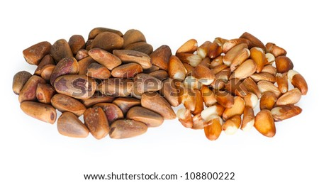 Pine nuts on the white