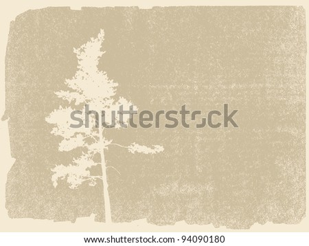 pine silhouette on grunge background