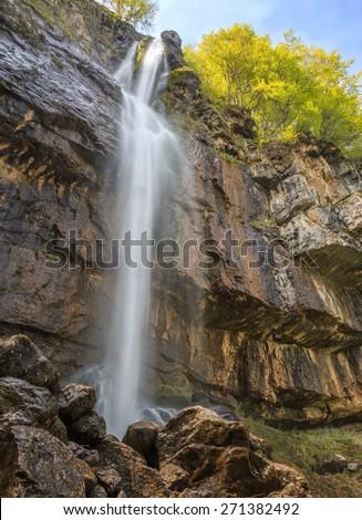 Pine Stone (Borov Kamak) is a beauty waterfall - 63 meters high. Located in Vratza Balkan Mountains, Bulgaria. - stock photo